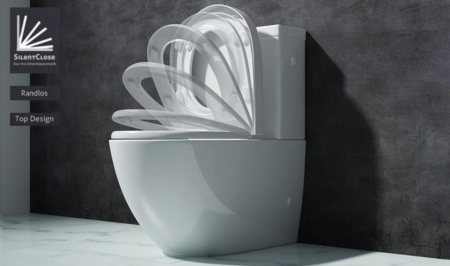 Design stand wc toilette bodenstehend tiefspüler mit silent close