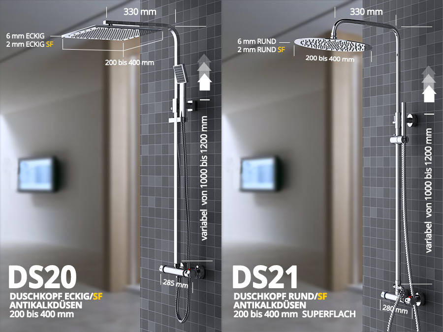 maimai design duschstangen set duschkopf duschstange thermostat. Black Bedroom Furniture Sets. Home Design Ideas