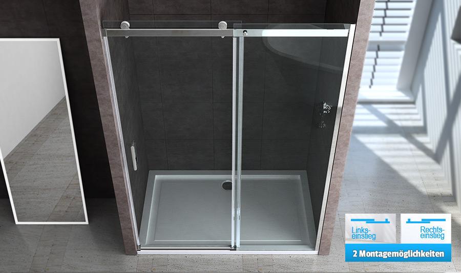 echt glas rahmenlose nischent r dusche duschabtrennung mit schiebet r mmn04k neu ebay. Black Bedroom Furniture Sets. Home Design Ideas