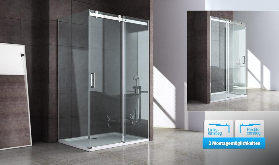echt glas dusche duschabtrennung duschkabine schiebet r aus sicherheitsglas neu ebay. Black Bedroom Furniture Sets. Home Design Ideas