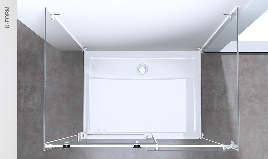 echtglas dusche duschabtrennung duschkabine duschtasse rav17 2 u form wow ebay. Black Bedroom Furniture Sets. Home Design Ideas