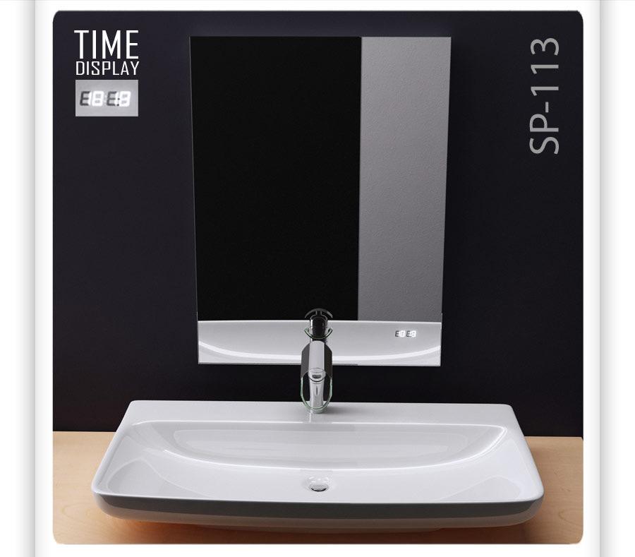 badspiegel wandspiegel mit uhrzeit display sp113. Black Bedroom Furniture Sets. Home Design Ideas