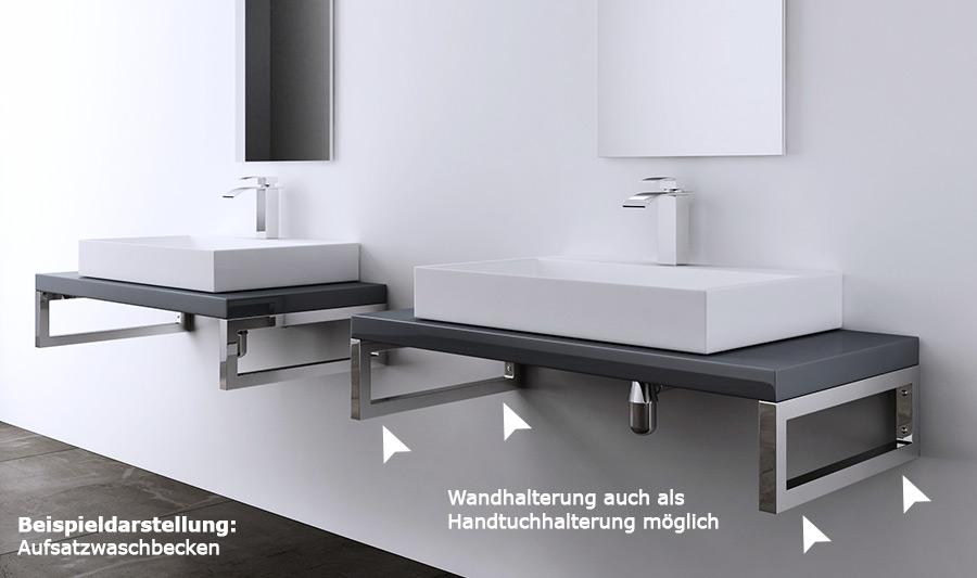 hochglanz waschbeckenauflage inkl edelstahl wandkonsole. Black Bedroom Furniture Sets. Home Design Ideas