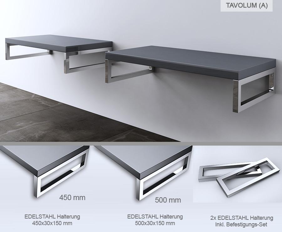hochglanz waschbeckenauflage inkl edelstahl wandkonsole tavolum ebay. Black Bedroom Furniture Sets. Home Design Ideas